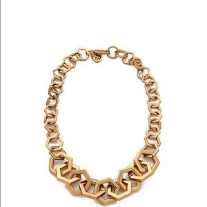 Tory Burch Aged Gold Hexagon Link Necklace